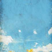 Floral In Blue Sky And Cloud Art Print by Setsiri Silapasuwanchai