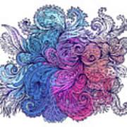 Blue Floral Indian Pattern Art Print