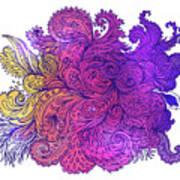 Purple Floral Indian Pattern Art Print