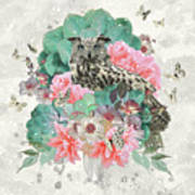 Floral Owl Art Print