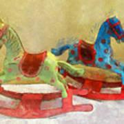 Floral Rocking Horses Art Print