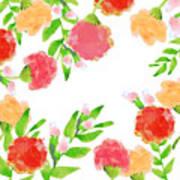 Floral Watercolor Border  Art Print