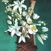 Floral White Lilies  Art Print