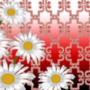 Floral Zellige Design 4 Art Print