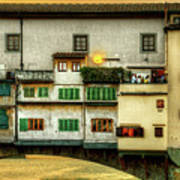 Florence - Boats Under The Ponte Vecchio Sunset - Untextured Art Print
