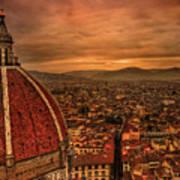 Florence Duomo At Sunset Print by McDonald P. Mirabile