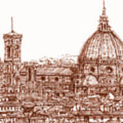 Florence Duomo In Red Art Print