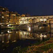 Florence Italy Night Magic - A Glamorous Evening At Ponte Vecchio Art Print