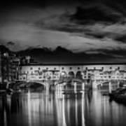 Florence Ponte Vecchio At Sunset Monochrome Art Print