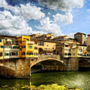 Florence -  Ponte Vecchio From The Northwestern Bank - Vintage Art Print