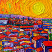 Florence Sunset 10 Modern Impressionist Abstract City Knife Oil Painting Ana Maria Edulescu Art Print