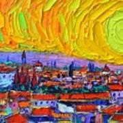 Florence Sunset 5 Modern Impressionist Abstract City Impasto Knife Oil Painting Ana Maria Edulescu Art Print