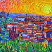 Florence Sunset 7 Modern Impressionist Abstract City Impasto Knife Oil Painting Ana Maria Edulescu Art Print