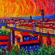 Florence Sunset 9 Modern Impressionist Abstract City Impasto Knife Oil Painting Ana Maria Edulescu Art Print