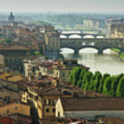 Florence. View Of Ponte Vecchio Over River Arno. Art Print