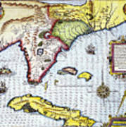 Florida: Map, 1591 Art Print