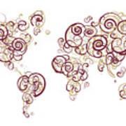 Florida State University Colors Swirl Map Of The World Atlas Art Print