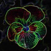 Flower 5 - Glowing Edges Art Print