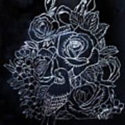 Flower And Bird Scratch Board Art Print