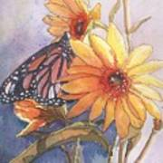 Flower And Monarch Art Print