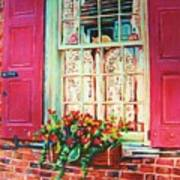 Flower Box  And Pink Shutters Art Print