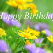 Flower Garden Birthday Card Art Print