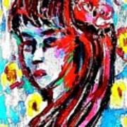 Flower Girl Portrait  Art Print
