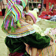 Flower Hmong Mother And Baby 02 Art Print