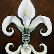 Flower Of New Orleans White Calla Lilly Art Print by Judy Merrell