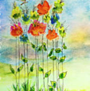 Flower Patch With Butterfly Art Print