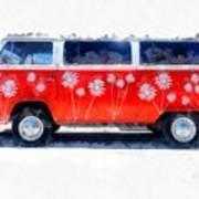 Flower Power Van Art Print