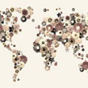 Flower World Map Sepia Art Print