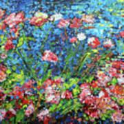 Flowering Shrub In Pink On Bright Blue 201676 Art Print