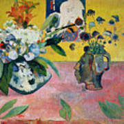 Flowers And A Japanese Print Art Print by Paul Gauguin