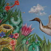 Flowers And Bird By The Sea Art Print
