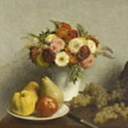 Flowers And Fruit 1865 Art Print