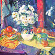 Flowers And Fruit In A Green Bowl Art Print