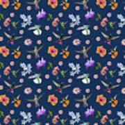 Flowers And Hummingbirds 2 Art Print