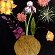 Flowers in a Gold Vase Art Print