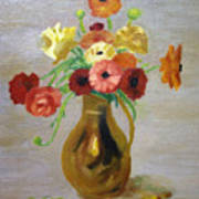 Flowers In A Pitcher -11 Yrs Old Art Print