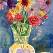 Flowers In Glass Vase Art Print