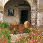 Flowers In The South Wing, Mission San Juan Capistrano, California Art Print