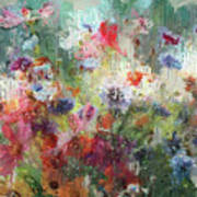 Flowers On Canvas Art Print