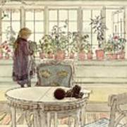 Flowers On The Windowsill Art Print by Carl Larsson