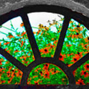 Flowers Through Basement Window At Monticello Art Print