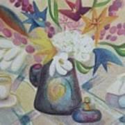 flowers Tin Vase and Tea Cup  Art Print