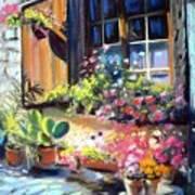 Flowery Window Of France Art Print