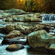 Flowing River On Greenbrier Cove Road Smoky Mountains National P Art Print