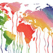Fluid rainbow watercolor world map canvas print canvas art by fluid rainbow watercolor world map poster gumiabroncs Choice Image
