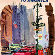 Fly Bcpa To America Vintage Poster Restored Art Print